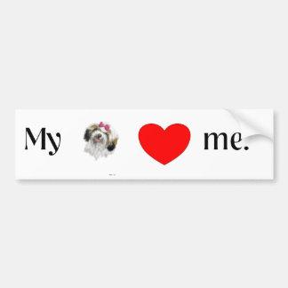 My shih tzu loves me. bumper sticker