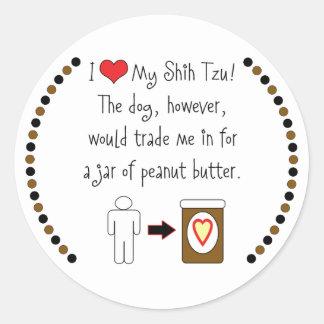 My Shih Tzu Loves Peanut Butter Round Sticker