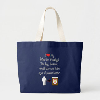My Siberian Husky Loves Peanut Butter Large Tote Bag