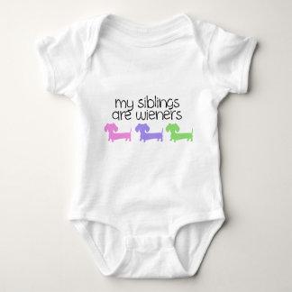 My Siblings are Wieners   3 Dachshunds design Baby Bodysuit