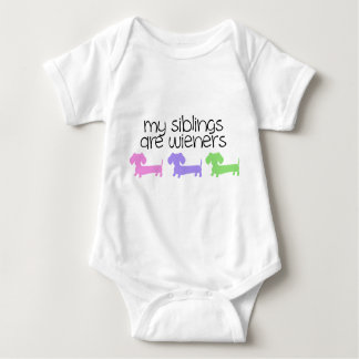 My Siblings are Wieners | 3 Dachshunds design Baby Bodysuit