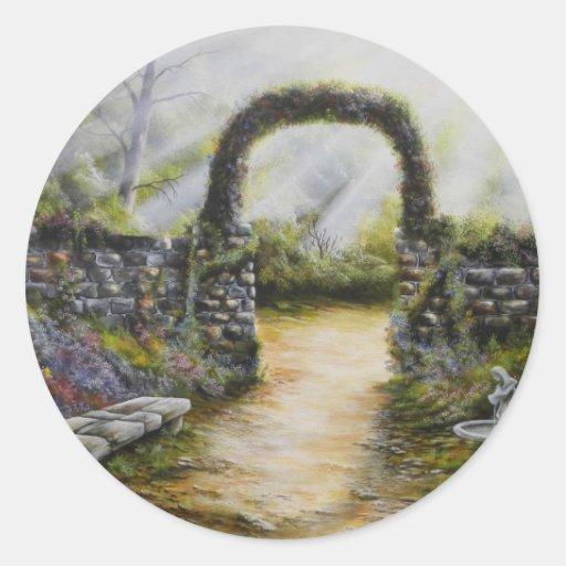 My side yard~ Oil Painting Round Sticker