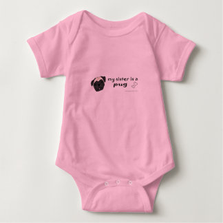 my sister is a pug-more breeds baby bodysuit