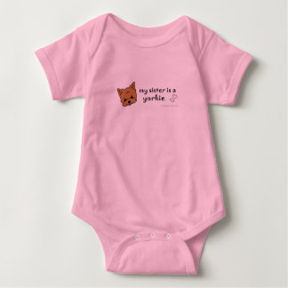 my sister is a yorkie - more dog breeds baby bodysuit