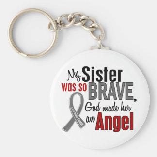 My Sister Is An Angel 1 Brain Cancer Basic Round Button Keychain