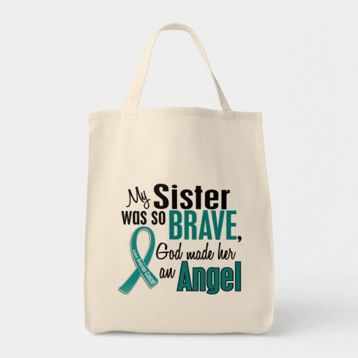 My Sister Is An Angel 1 Ovarian Cancer Grocery Tote Bag