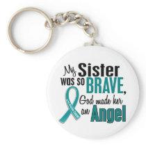 My Sister Is An Angel 1 Ovarian Cancer Keychain