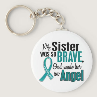 My Sister Is An Angel 1 Ovarian Cancer Keychain