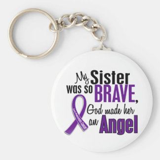My Sister Is An Angel Pancreatic Cancer Basic Round Button Keychain