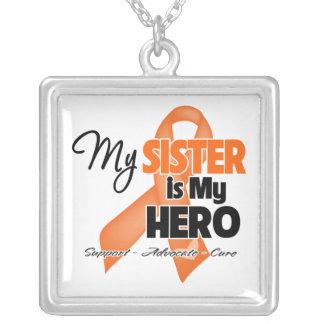 My Sister is My Hero - Leukemia Square Pendant Necklace