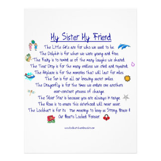 MY SISTER My Friend poem with graphics Customized Letterhead