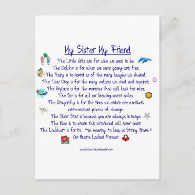 my sister my friend poem with
