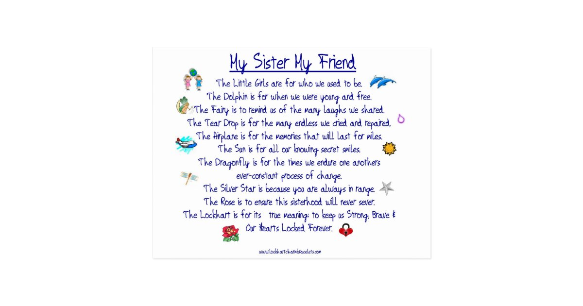 MY SISTER My Friend poem with graphics Postcard | Zazzle
