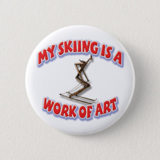 My Skiing Is A Work Of Art Pinback Button