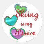 My Skiing Passion Round Sticker