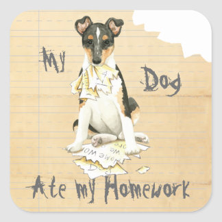 My Smooth Collie Ate My Homework Square Sticker