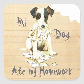 My Smooth Fox Terrier Ate My Homework Square Sticker