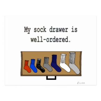 My sock drawer is well-ordered. postcard