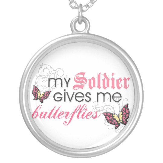 My Soldier Gives Me Butterflies Silver Plated Necklace