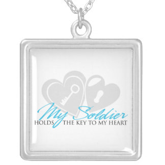 My Soldier Holds the Key to my Heart Square Pendant Necklace