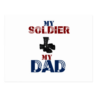 My Soldier My Dad Boots Postcard