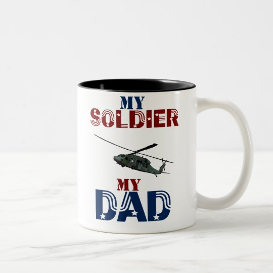 My Soldier My Dad Hellacopter Two-Tone Coffee Mug