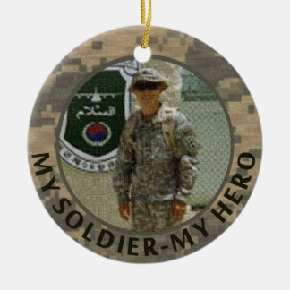 My Soldier My Hero Military Photo Custom Date Double-Sided Ceramic Round Christmas Ornament