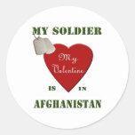 My Soldier, My Valentine Round Stickers