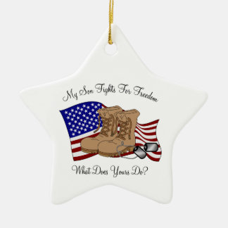 My Son Fights For Freedom Double-Sided Star Ceramic Christmas Ornament