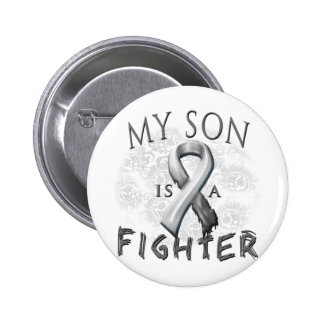 My Son Is A Fighter Grey Pinback Button