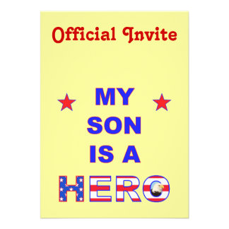 My Son Is A Hero Personalized Invitation