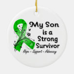 My Son is a Strong Survivor Green Ribbon Ceramic Ornament
