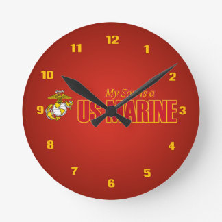 My Son is a US Marine Round Wall Clocks