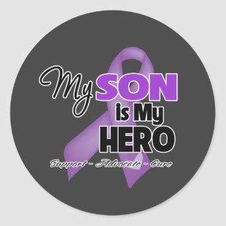 My Son is My Hero - Purple Ribbon Classic Round Sticker