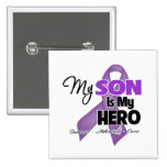My Son is My Hero - Purple Ribbon Pinback Buttons