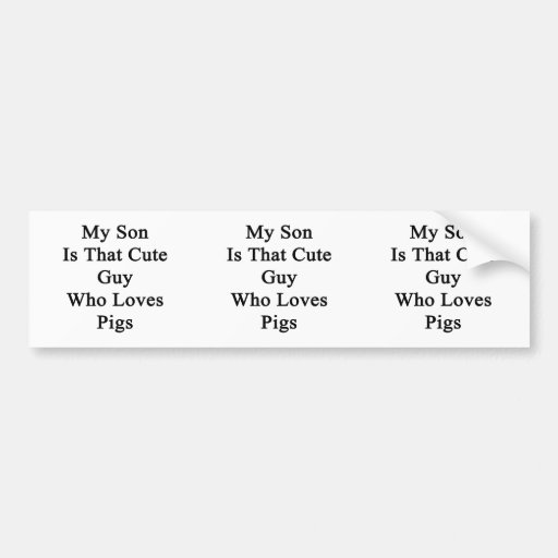 My Son Is That Cute Guy Who Loves Pigs Bumper Stickers