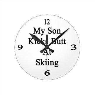 My Son Kicks Butt At Skiing Round Wall Clock