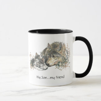 My Son...my Friend Watercolor Wolf Art Mug