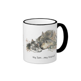 My Son...my Friend Watercolor Wolf Art Ringer Mug
