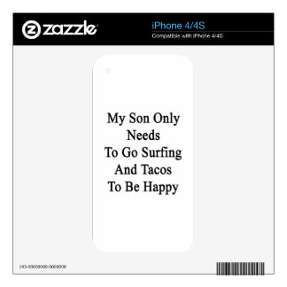 My Son Only Needs To Go Surfing And Tacos To Be Ha Skin For iPhone 4