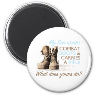 My Son Wears Combat Boots 2 Inch Round Magnet