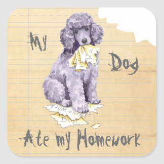 My Standard Poodle Ate my Homework Square Sticker