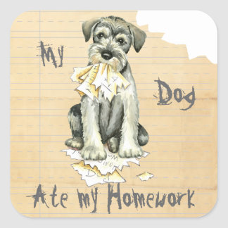 My Standard Schnauzer Ate My Homework Square Sticker