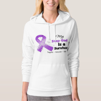 My Step-Dad is a Survivor Purple Ribbon Hooded Sweatshirts
