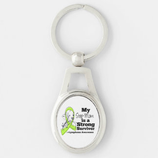 My Step-Mom is a Strong Survivor of Lymphoma Silver-Colored Oval Keychain