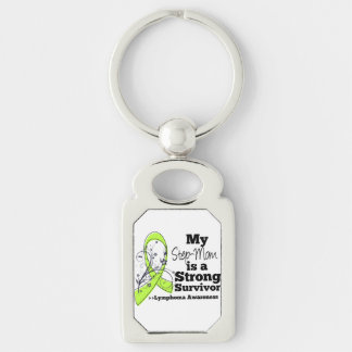 My Step-Mom is a Strong Survivor of Lymphoma Silver-Colored Rectangle Keychain