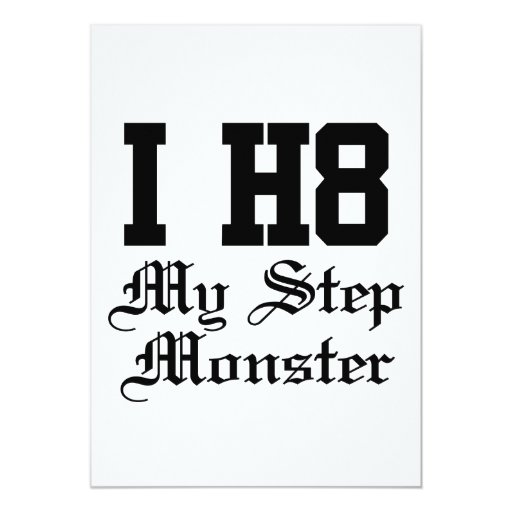my step monster 5x7 paper invitation card