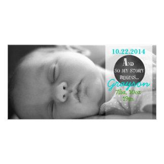 My Story Begins Chalk Design Birth Announcement Photo Card