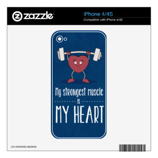 My Strongest Muscle Is My Heart iPhone 4 Decals