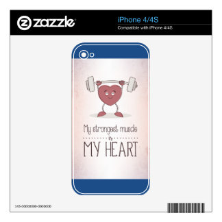 My Strongest Muscle Is My Heart iPhone 4S Skin